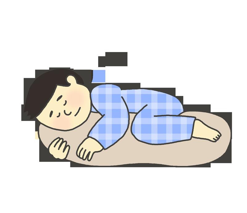 抱き枕を抱いて寝る男性のイラスト