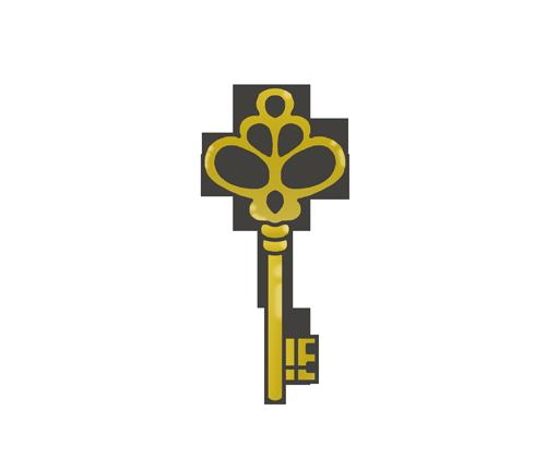 レトロ(アンティーク調)な鍵のイラスト