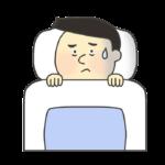 不眠症の男性のイラスト