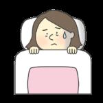 不眠症の女性のイラスト