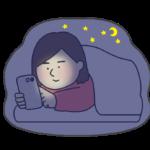 夜更かししてスマフォを見る女性のイラスト