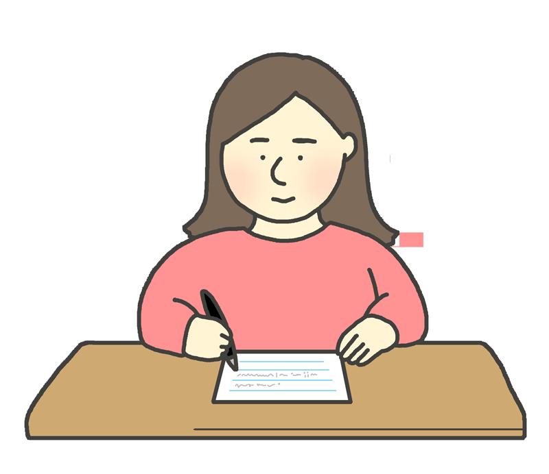 手紙を書く女性のイラスト