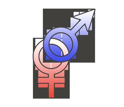 両性愛(バイセクシュアル)の性別記号のイラスト