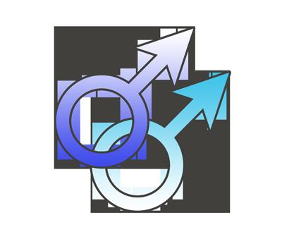 男性同性愛の性別記号のイラスト