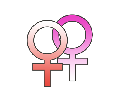 女性同性愛の性別記号のイラスト