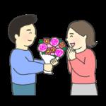 花束を贈る男性のイラスト
