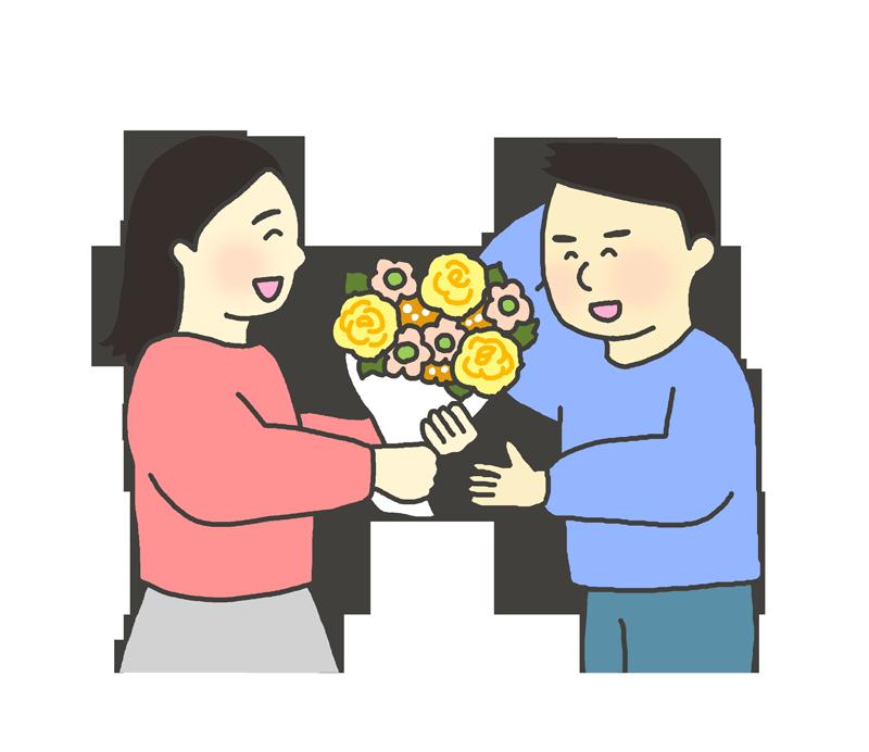 花束を贈る女性のイラスト