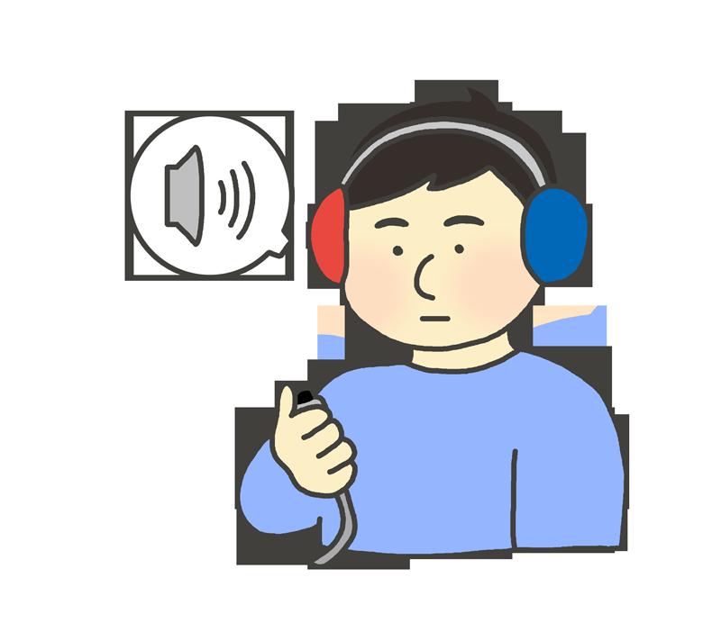 聴力検査のイラスト(男性)