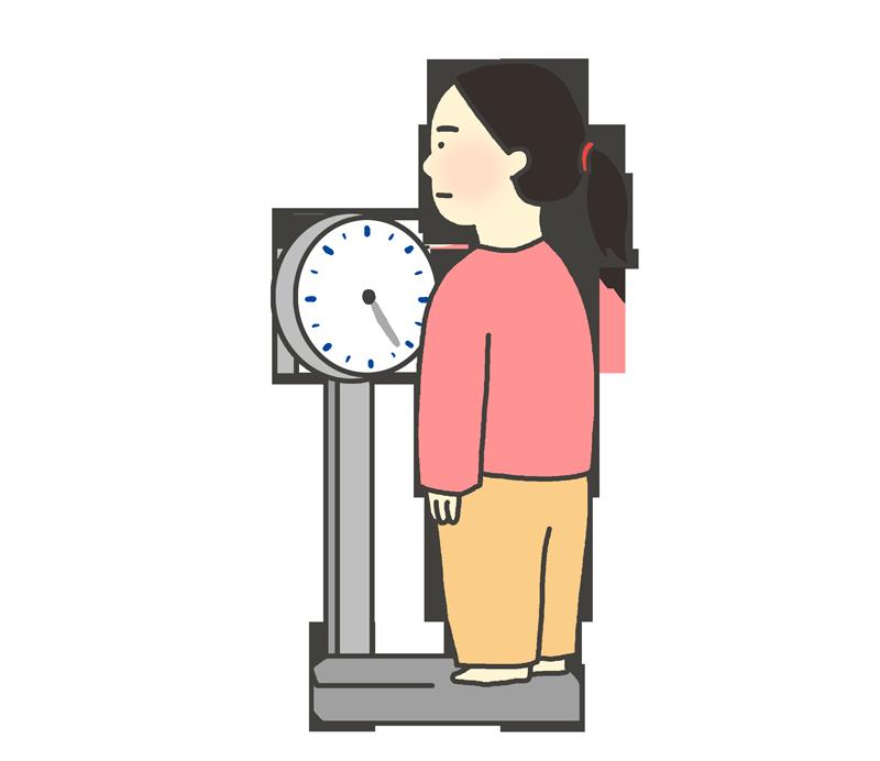 体重測定のイラスト(女性)