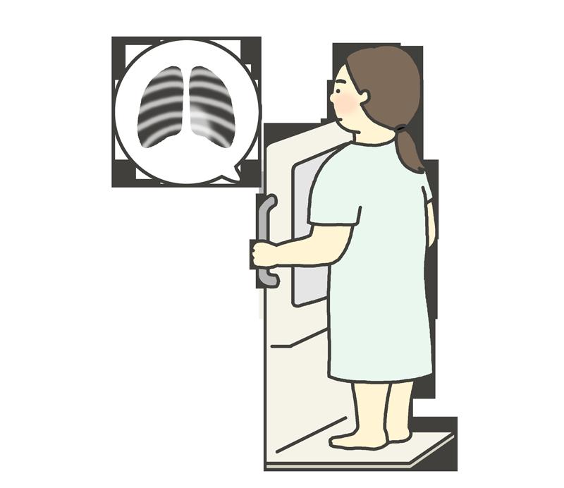 胸部レントゲン検査のイラスト(女性)