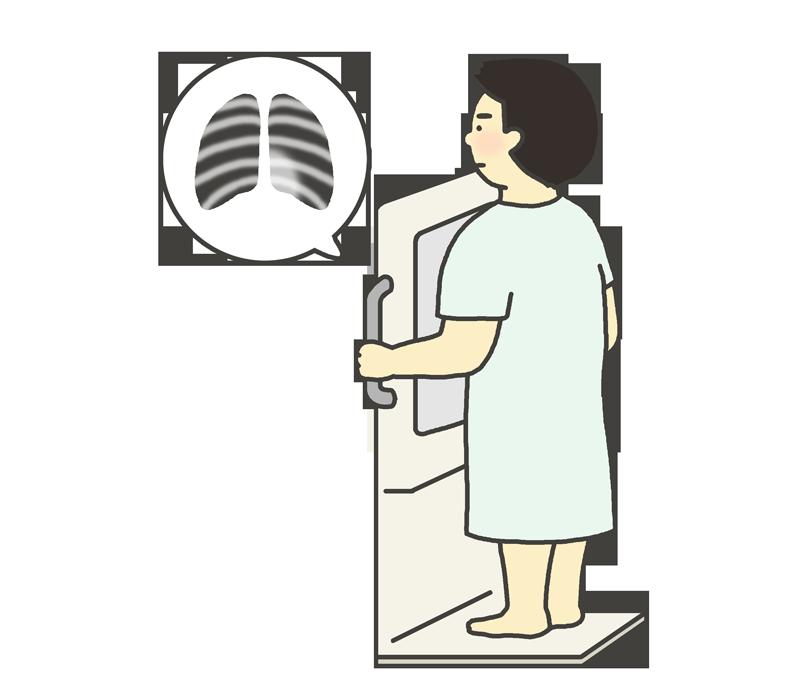 胸部レントゲン検査のイラスト(男性)