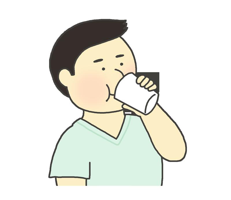 バリウムを飲む男性のイラスト