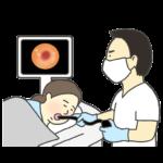 胃カメラ・内視鏡検査のイラスト(女性)