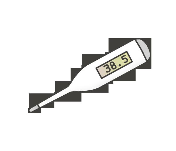 体温計のイラスト(高熱38.5℃)