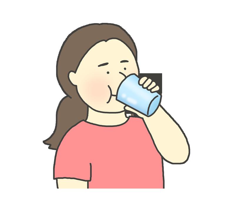 飲み物(ドリンク)を飲む女性のイラスト