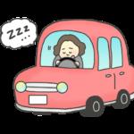 居眠り運転のイラスト(女性)