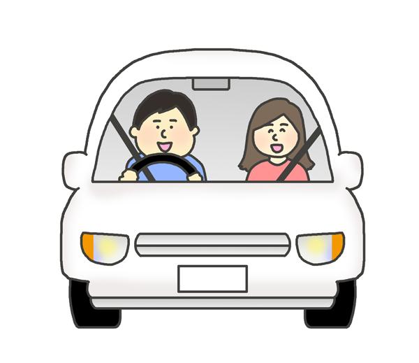 ドライブしている人達のイラスト