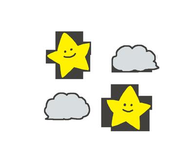 夜の晴れのイラスト(星マーク)