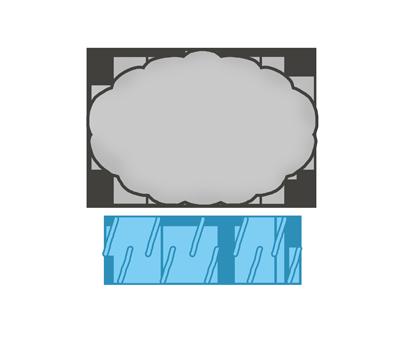 雨と雲マークのイラスト