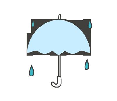 雨、傘マークのイラスト