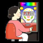パチンコをする女性のイラスト