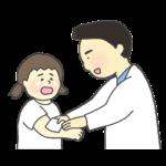 けがの手当てをする保健室の先生のイラスト(男性)