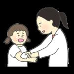 けがの手当てをする保健室の先生のイラスト(女性)