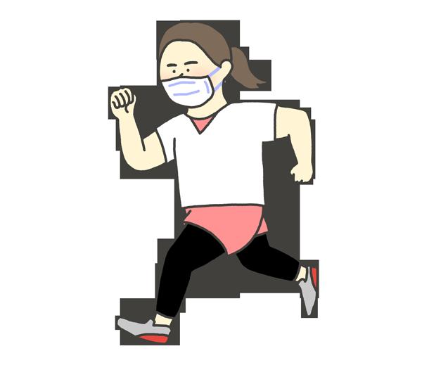 マスクをしてランニングする女性のイラスト