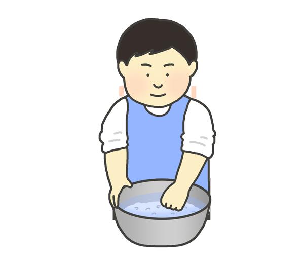 お米をとぐ男性のイラスト