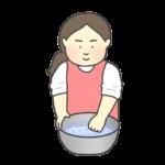 お米をとぐ女性のイラスト