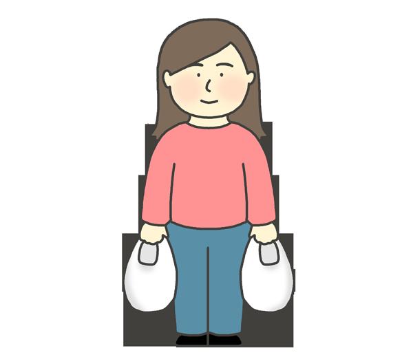 ビニール袋を持つ女性のイラスト