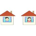 家に居る人たちのイラスト