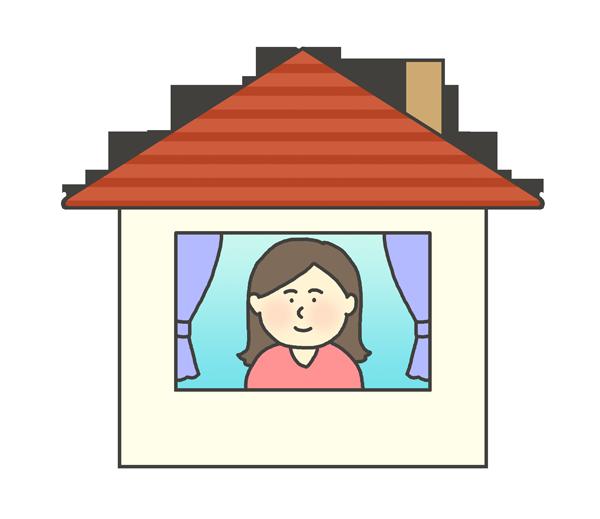 お家に居る女性のイラスト