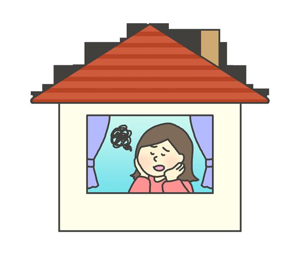 お家にいて退屈な女性のイラスト