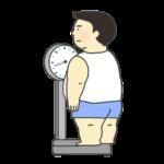 体重を測る太った男性のイラスト