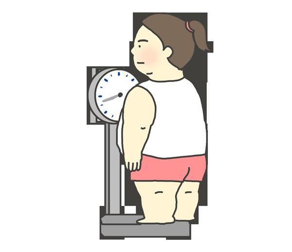体重を測る太った女性のイラスト