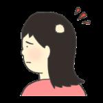 円形脱毛症(十円禿)のイラスト(女性)