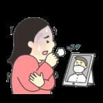 オンライン診療のイラスト(女性)