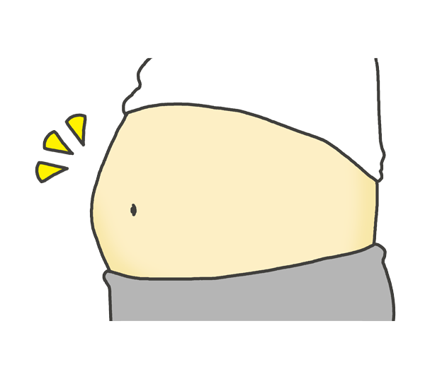 ぽっこりお腹(太っているウェスト)のイラスト