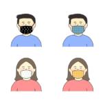 おしゃれな布マスクをつけている人のイラスト