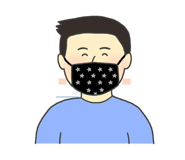 オシャレな布マスクをする男性のイラスト