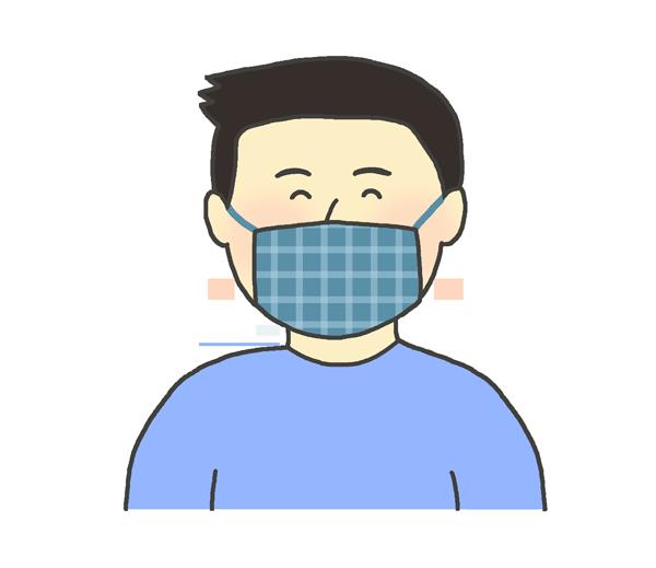 おしゃれな布マスクをする男性のイラスト