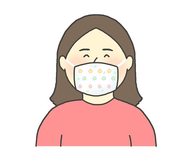 オシャレな布マスクをする女性のイラスト