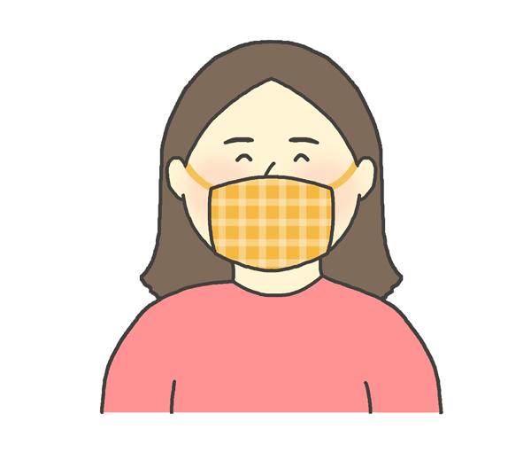 お洒落な布マスクをする女性のイラスト