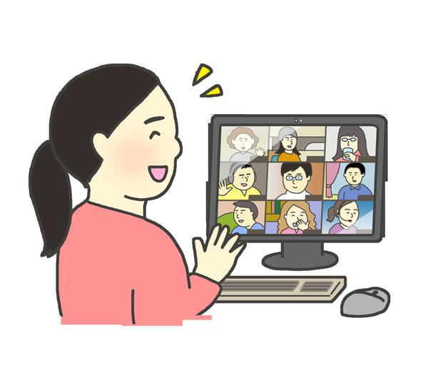 笑顔でオンライン会議に参加する女性のイラスト