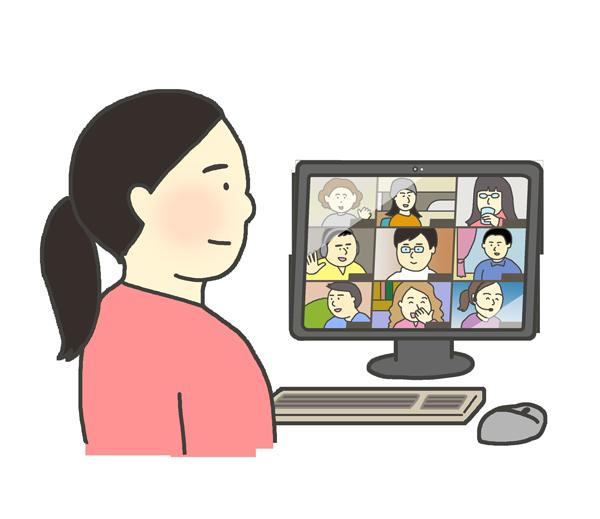 オンライン会議をする女性のイラスト