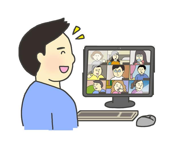 笑顔でオンライン会議に参加する男性のイラスト