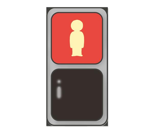 歩道信号機のイラスト(赤信号)