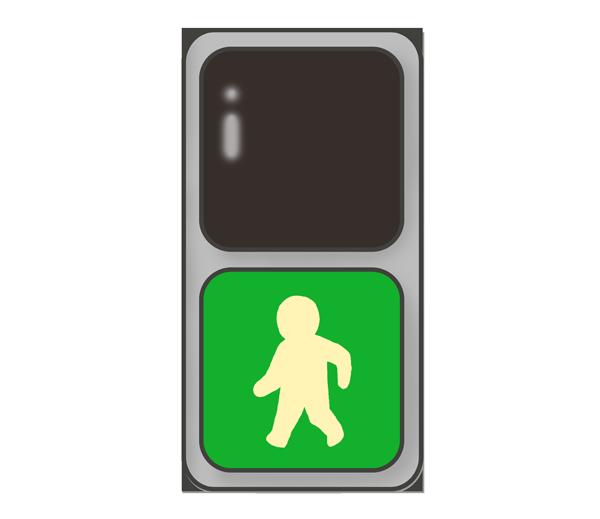歩道信号機のイラスト(青信号)