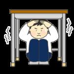地震で机の下に避難する人のイラスト